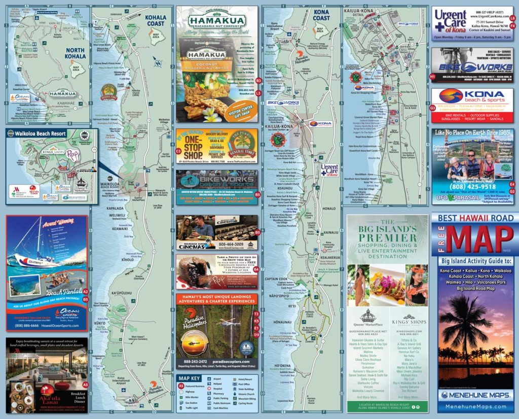 Hawaii Big Island Road Map Side A - Menehune Maps