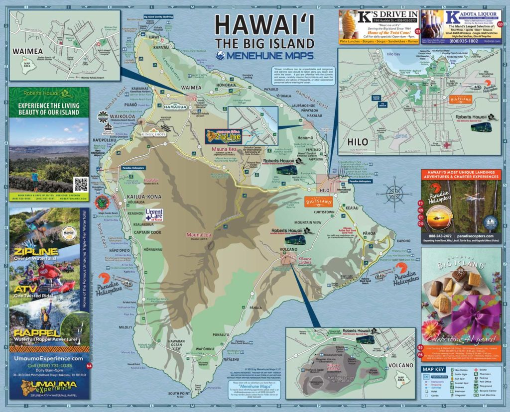 Hawaii Big Island Road Map Side B - Menehune Maps