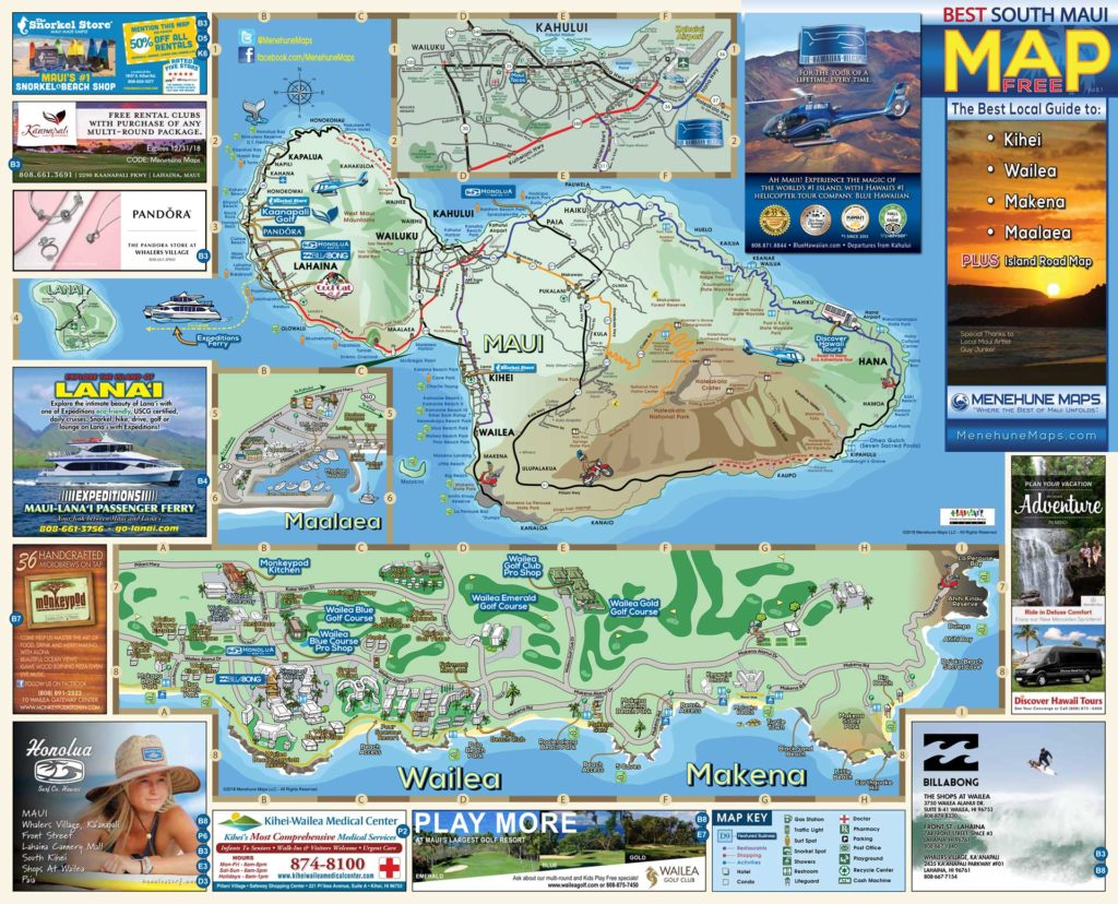 South Maui Map Menehune Maps Side A 2019