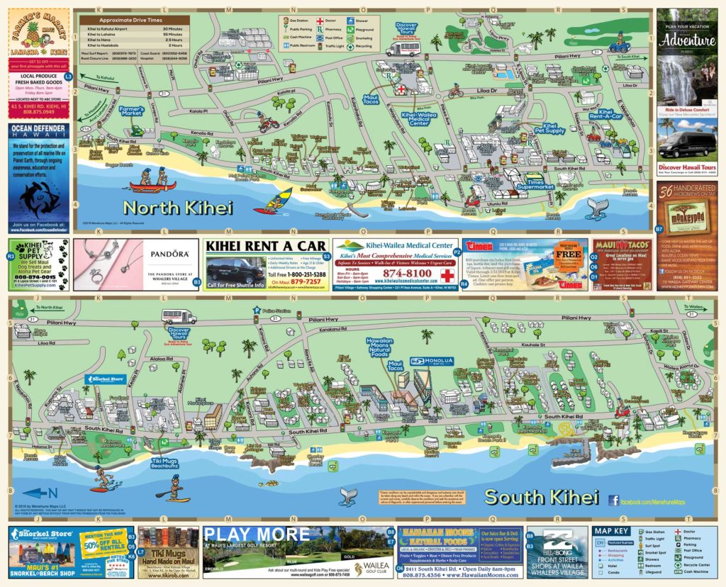South Maui Map Menehune Maps Side B 2019