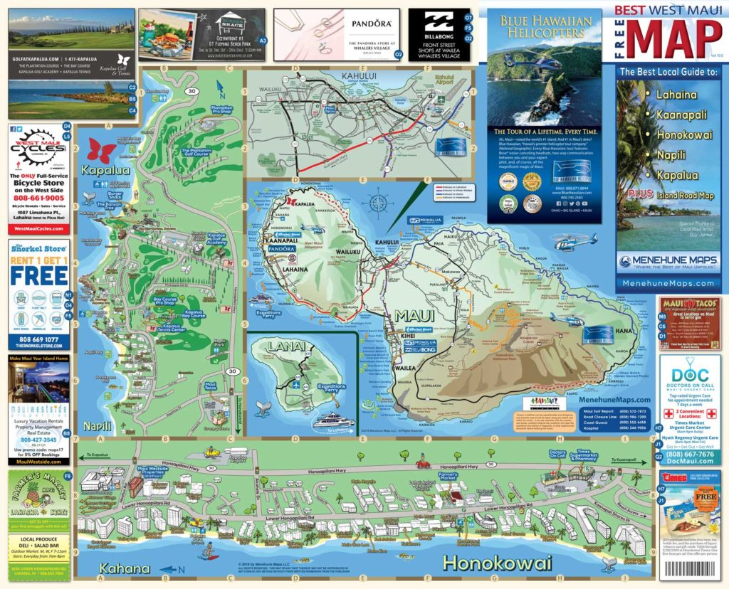 West Maui Road Map Side A - Menehune Maps