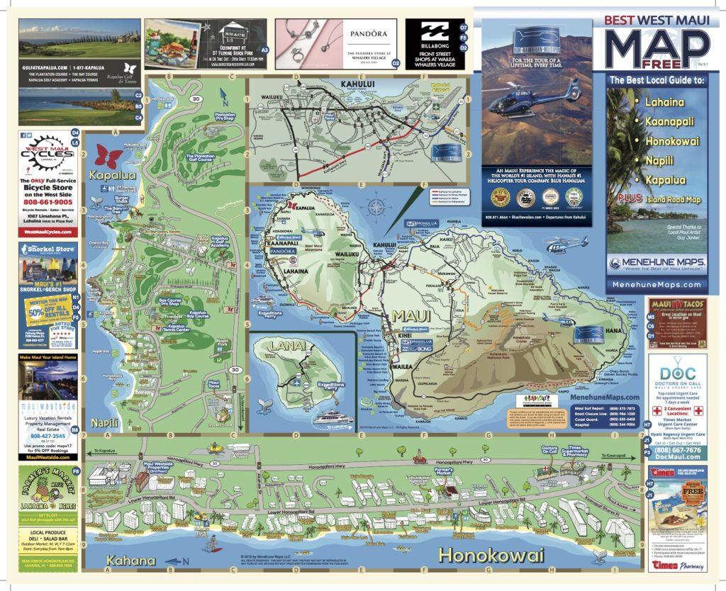 Menehune Maps Hawaii West Maui Map Side A