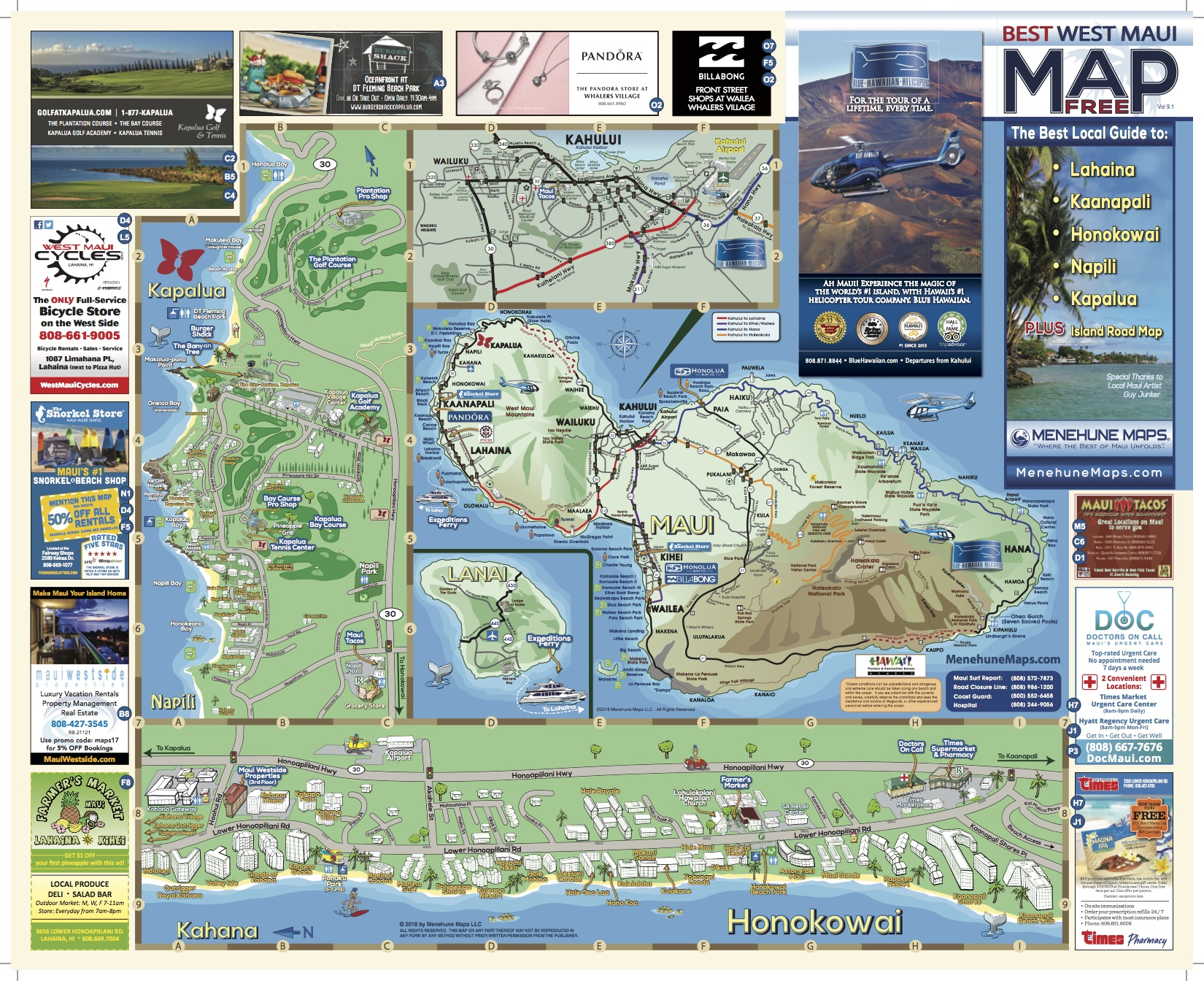 Hawaii Map Maui.West Maui Map Menehune Maps