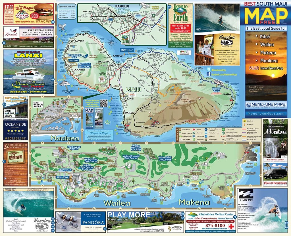 South Maui Map Menehune Maps