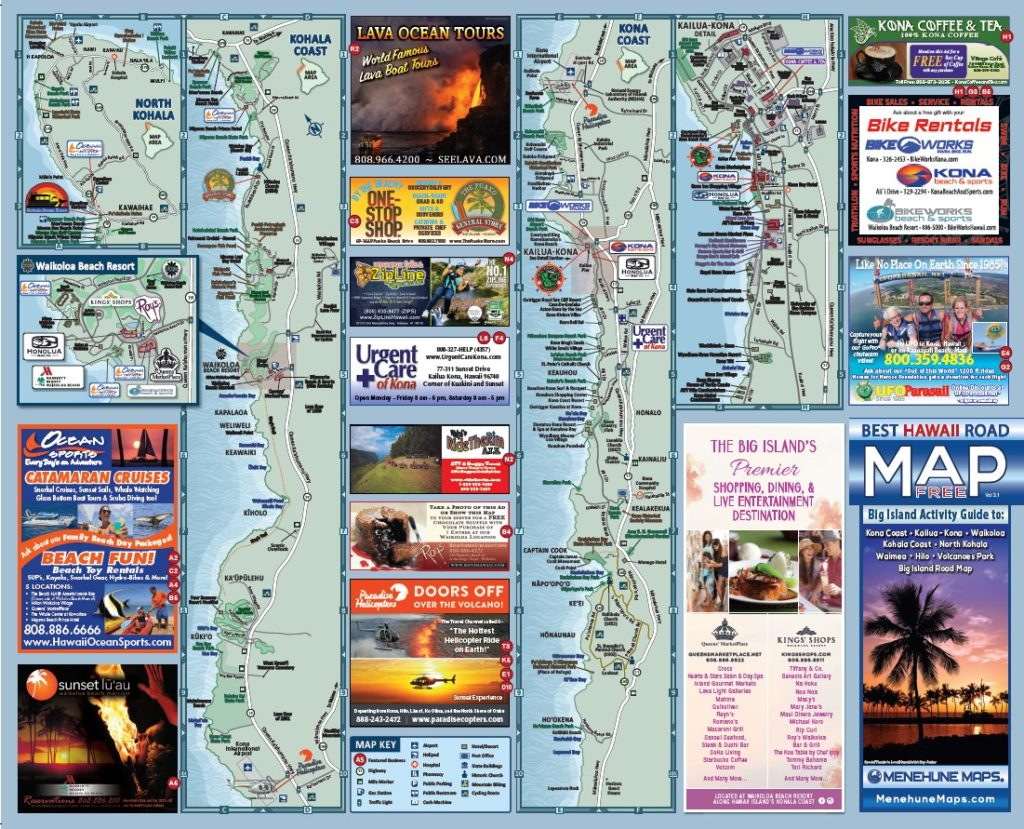 Hawaii Road Map Menehune Maps