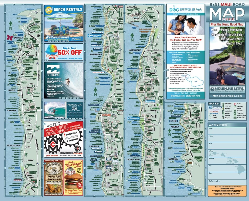 graphic regarding Printable Map of Maui named Maui Street Map Menehune Maps
