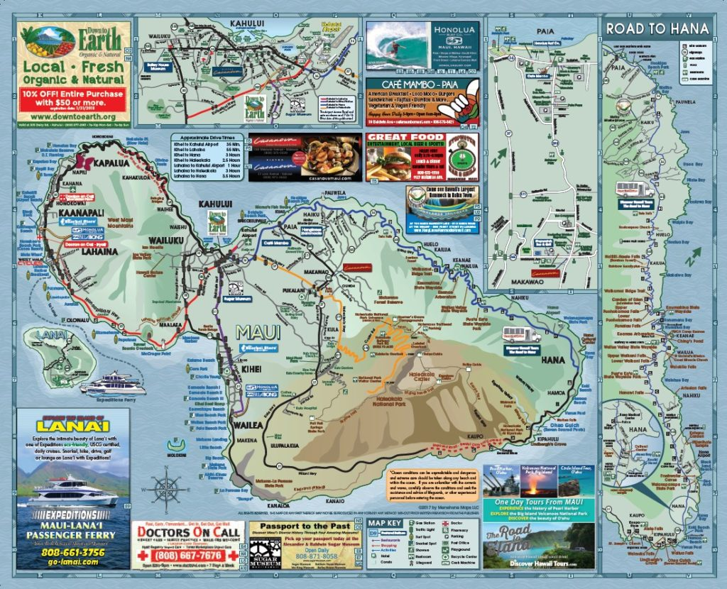 photo about Maui Map Printable known as Maui Highway Map Menehune Maps