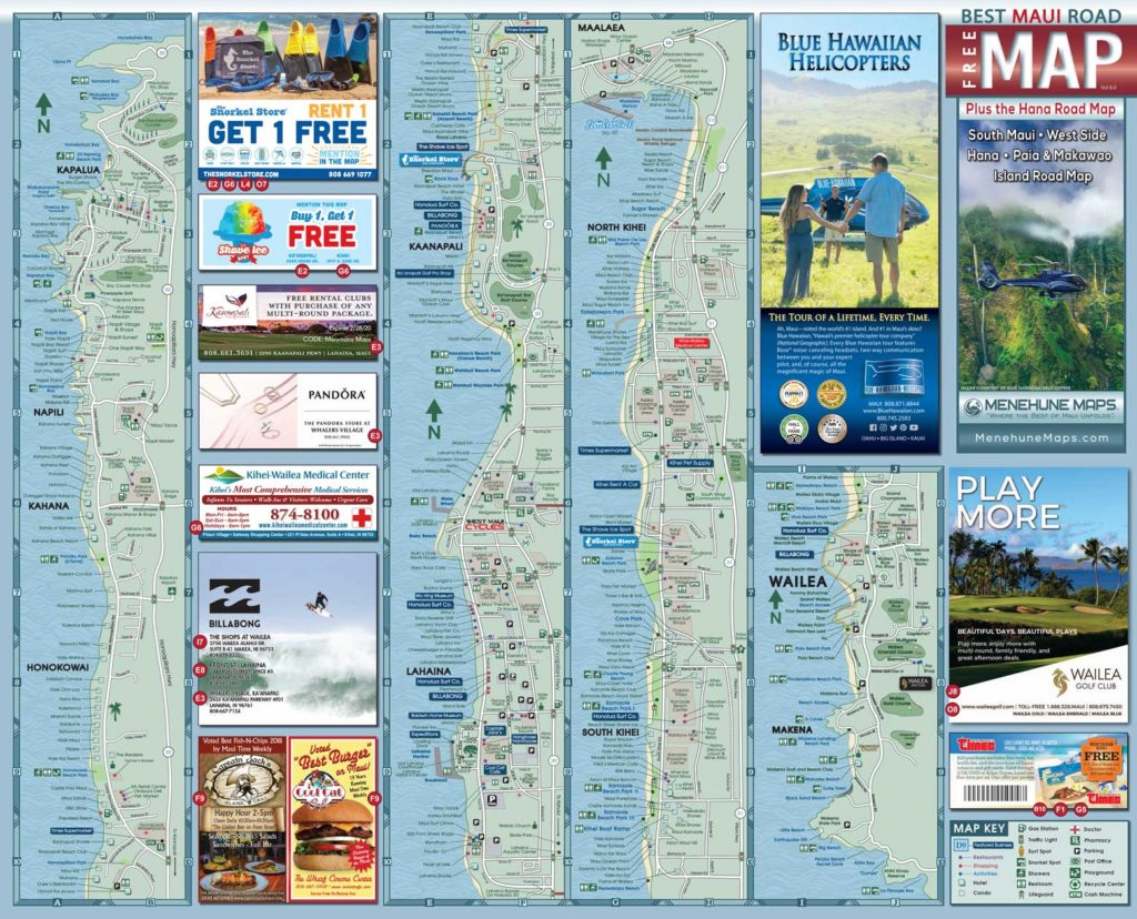 2019 Maui Road Map Side A - Menehune Maps