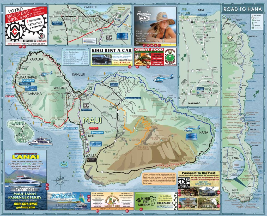 2019 Maui Road Map Side B - Menehune Maps